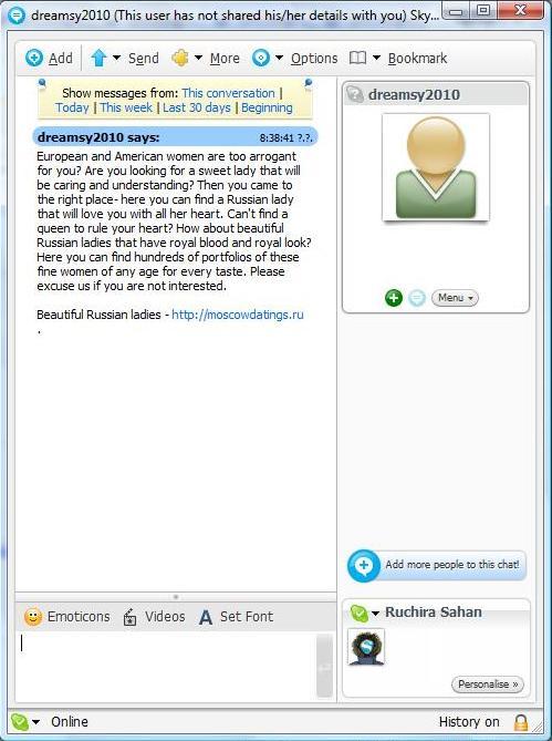 skypespam Skype SPAMs