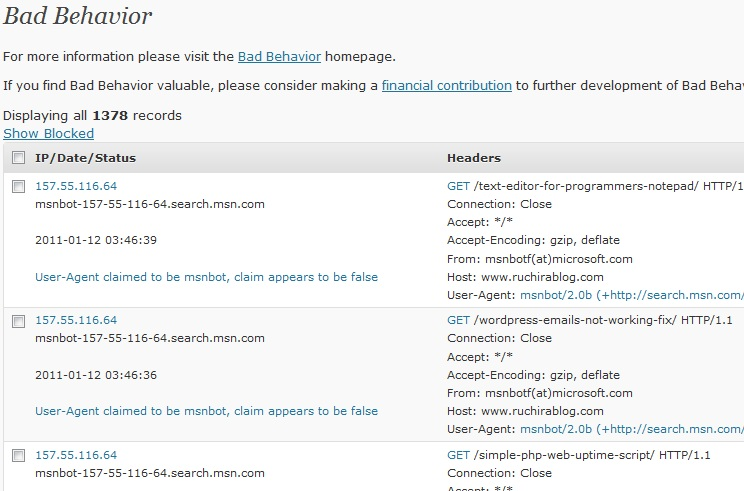 bad behavior Wordpress Bad Behavior plugin blocks legitimate bots