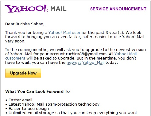 yahoo mail upgrade Yahoo mail gets new interface