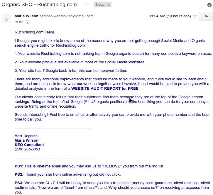 seo emails3 Thanks for evaluating my SEO